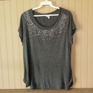 Candie's top gray size XL beaded bling sparkle